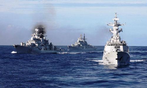 Tàu hải quân Trung Quốc tập trận ở Tây Thái Bình Dương Ảnh: CFP