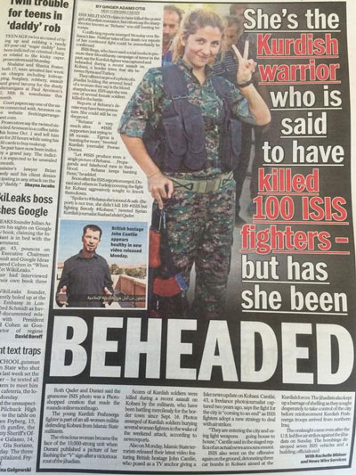 Rehana đã trở thành biểu tượng cho phong trào chống IS của người Kurd  Ảnh: New York Daily News