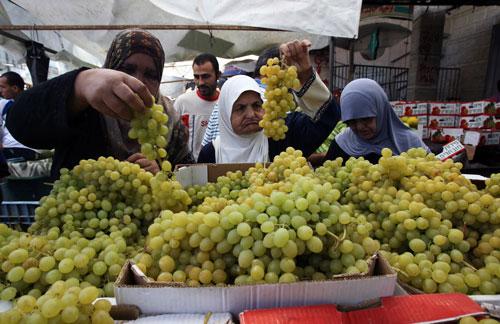 Người dân Palestine tranh thủ thời gian ngừng bắn ít ỏi để đổ tới các khu chợ mua thực phẩm tích trữ Ảnh: REUTERS
