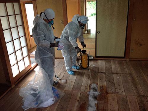 Mùi và vết bẩn trong căn nhà có người chết được xử lý Ảnh: SHOBUNYA.COM