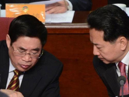 Bí thư Tỉnh ủy Sơn Tây Viên Thuần Thanh (trái) và Chủ tịch tỉnh Sơn Tây Lý Tiểu Bằng Ảnh: SCMP