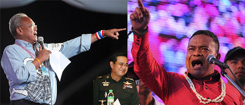 Từ trái sang: Tổng Thư ký PDRC Suthep Thaugsuban, Tư lệnh lục quân Prayuth Chan-Ocha và thủ lĩnh phe áo đỏ Jatuporn Prompan đã gặp nhau tại cuộc họp chiều 21-5 Ảnh: BANGKOK POST