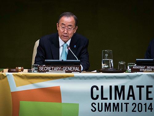 Tổng Thư ký Liên Hiệp Quốc Ban Ki-moon phát biểu bế mạc hội nghị Ảnh: REUTERS