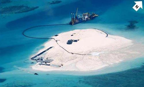 Trung Quốc có hoạt động cải tạo trái phép tại bãi đá ngầm Gạc Ma thuộc quần đảo Trường Sa của Việt Nam Ảnh: REUTERS