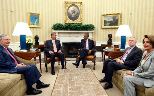 Tổng thống Mỹ Barack Obama gặp các nhà lãnh đạo quốc hội để bàn về mối đe dọa của IS hôm 9-9 Ảnh: REUTERS