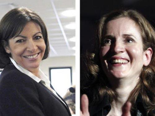 Bà Anne Hidalgo (trái) và bà Nathalie Kosciusko-Morizet Ảnh: AP