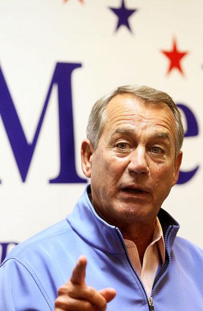 Chủ tịch Hạ viện John Boehner phát biểu tại TP Davenport hôm 27-10 Ảnh: QUAD-CITY TIMES