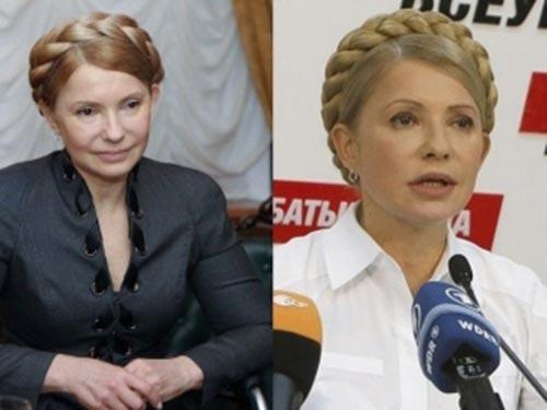 Cựu Thủ tướng Yulia Tymoshenko hồi tháng 2 (trái) và tháng 9-2014 Ảnh: VESTI