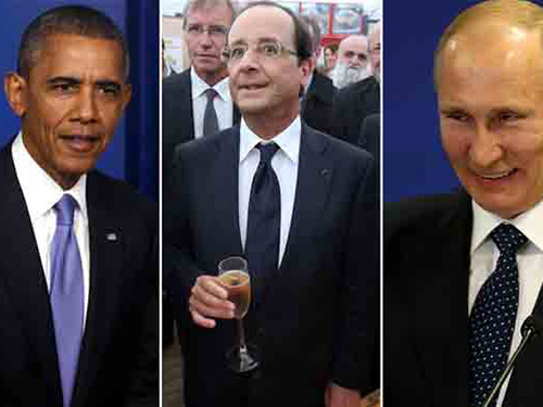 Tổng thống Pháp François Hollande (giữa) sẽ lần lượt ăn tối với Tổng thống Mỹ Barack Obama (trái)  và Tổng thống Nga Vladimir Putin. Ảnh: AP-EPA