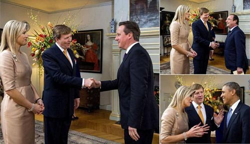 Thủ tướng Anh, tổng thống Pháp và tổng thống Mỹ (theo chiều kim đồng hồ) không rời mắt khỏi Hoàng hậu Maxima   Ảnh: DAILY MAIL