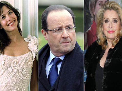 Hai tên tuổi Sophie Marceau (trái) và Catherine Deneuve tranh cãi vì Tổng thống Francois Hollande (giữa)  Ảnh: GLOBALIST.IT