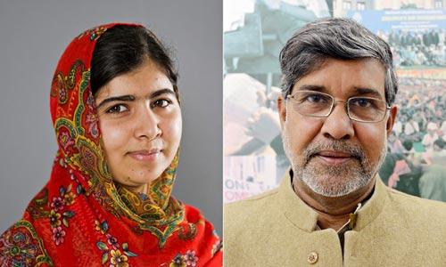 Malala Yousafzai (trái) và Kailash Satyarthi Ảnh: THE GUARDIAN