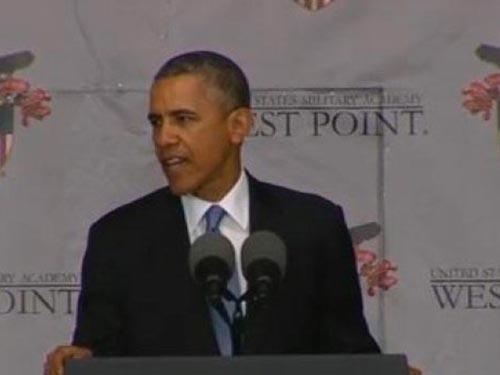 Tổng thống Barack Obama phát biểu tại Học viện Quân sự West Point ngày 28-5Ảnh: WHITE HOUSE