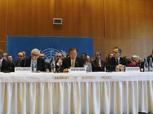 Các đại biểu tại hội nghị quốc tế về Syria ở Montreux hôm 22-1 Ảnh: REUTERS