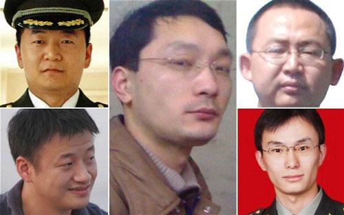 Năm tin tặc Trung Quốc bị Mỹ kết tội và truy nã năm 2013 Ảnh: REUTERS