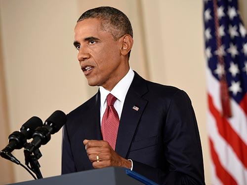 Tổng thống Mỹ Barack Obama thể hiện quyết tâm xóa sổ IS trong bài diễn văn đọc hôm 10-9Ảnh: Reuters