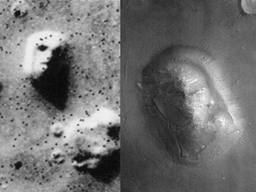 Hình ảnh chụp năm 1976 trê sao Hỏa được cho là giống gương mặt người, nhưng sau đó NASA phát hiện đó chỉ là cồn cát