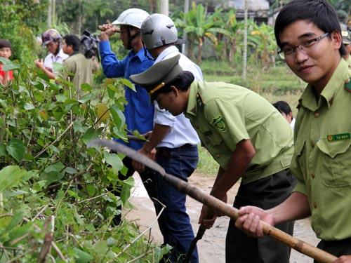 Chính quyền và người dân tham gia phát quang bụi rậm, tìm diệt rắn lục đuôi đỏ