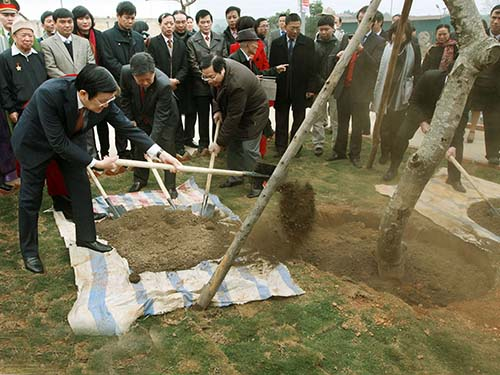 Chủ tịch nước Trương Tấn Sang trồng cây tại khuôn viên Làng Văn hóa Du lịch các dân tộc Việt Nam Ảnh: TTXVN