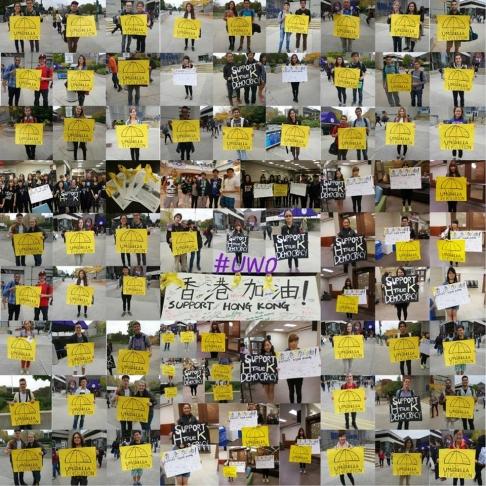 Sinh viên cao đẳng, đại học ở miền Bắc nước Mỹ ủng hộ phong trào dân chủ tại Hồng Kông. Ảnh: Facebook