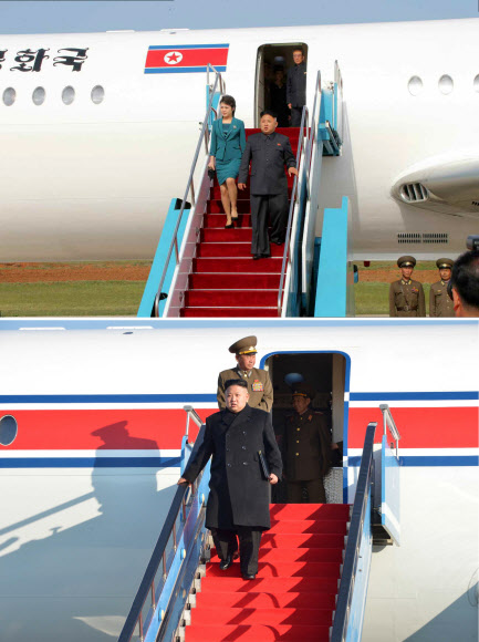 Kim Jong-un và vợ bước xuống từ chiếc máy bay lạ. Ảnh: The Hankyoreh