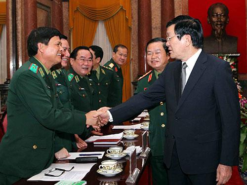 Chủ tịch nước Trương Tấn Sang với các đại biểu tại buổi làm việcẢnh: TTXVN