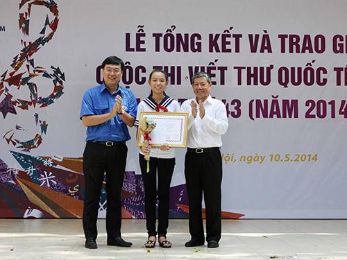 Em Phạm Phương Thảo tại lễ trao giải Ảnh: TTXVN
