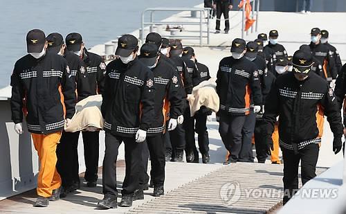 Cảnh sát đưa thi thể các nạn nhân vào bờ ngày 20-4. Ảnh: Yonhap