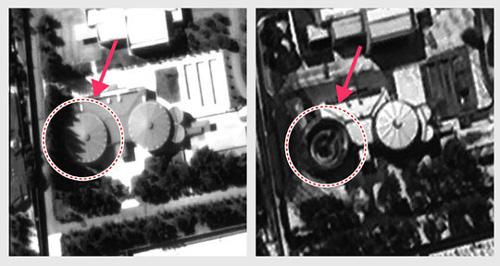 Hình ảnh căn biệt thự trên Google Earth năm 2012 (trái) và Arirang 3 hồi tháng 3 năm 2014. Ảnh: Chosunilbo