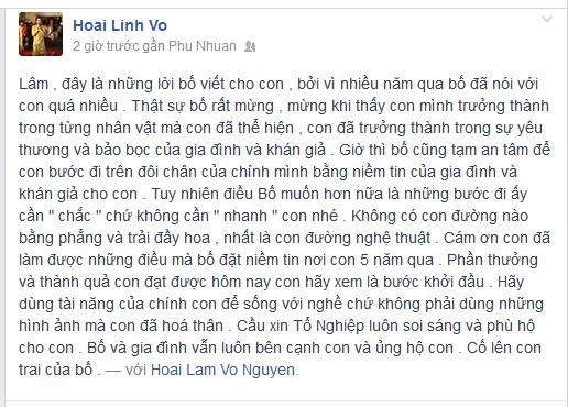 Nội dung tâm thư NS Hoài Linh viết gửi con trai nuôi trên trang cá nhân. Ảnh chụp màn hình