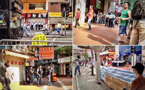 Lực lượng an ninh có mặt ở Vịnh Đồng La để giải tán đám đông. Ảnh: SCMP