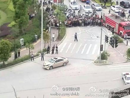 Hiện trường vụ đâm chết người liên hoàn. Ảnh: Weibo