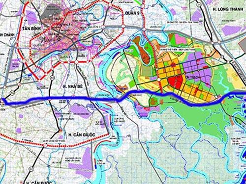 Bản đồ hướng tuyến chung cao tốc Bến Lức - Long Thành (đường vạch đậm)