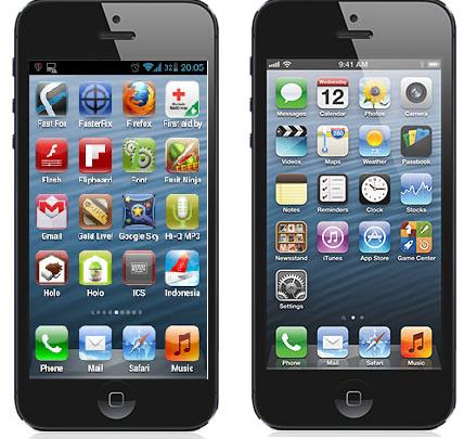 Bên phải là chiếc iPhone thật (chạy iOS), bên trái là chiếc iPhone giả (chạy Android)
