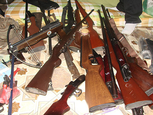 Tang vật thu được tại lò sản xuất súng của Phạm Cao Sơn