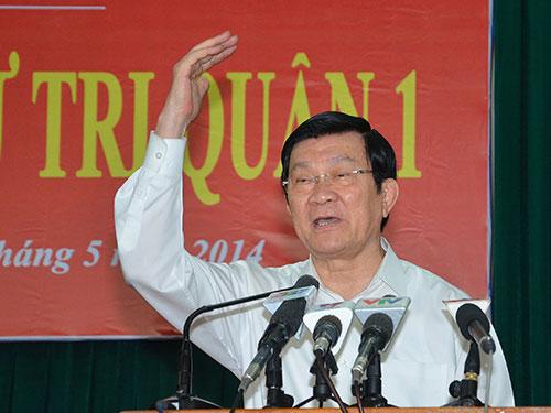 Chủ tịch nước Trương Tấn Sang: Chúng ta phải yêu cầu Trung Quốc ra khỏi nhà mình cho bằng được! Ảnh: TẤN THẠNH