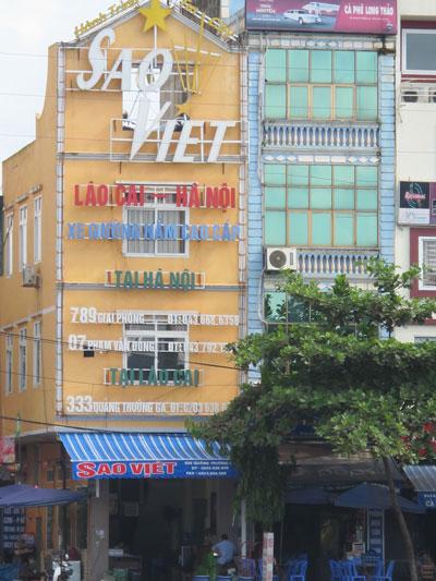 Trụ sở hãng xe Sao Việt tại phường Phố Mới, TP Lào Cai Ảnh: VĂN DUẨN