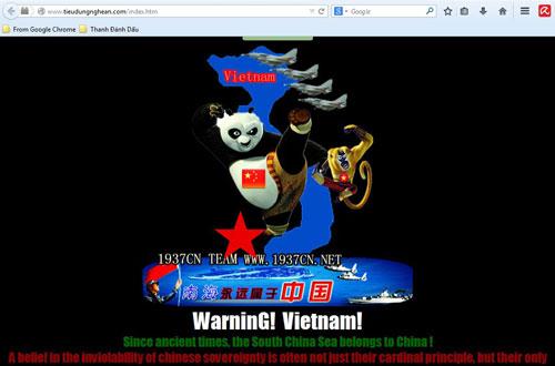 Trên trang chủ của nhóm hacker Trung Quốc 1937cN hiện chứa đầy những thông điệp khiêu khích