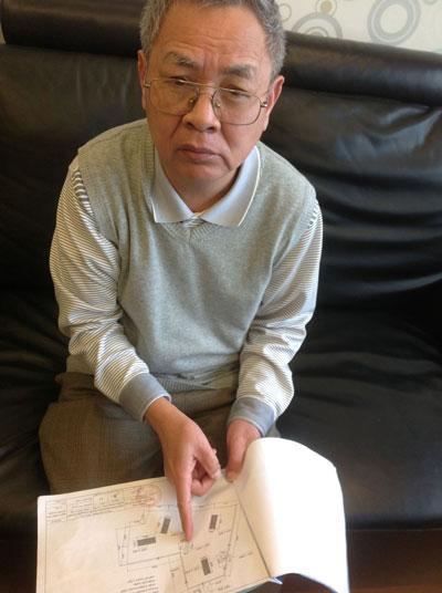 Căn hộ của ông Trần Xuân Trạch thiếu hơn 21 m2 do dính tới 6 cái cột, hộp kỹ thuật Ảnh ĐỖ DU