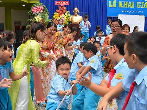 Học sinh Trường Tiểu học Lê Ngọc Hân (quận 1, TP HCM) trong ngày khai giảng Ảnh: Tấn Thạnh