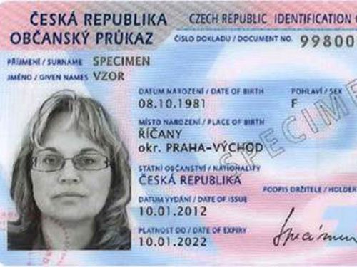 Mẫu thẻ căn cước thông minh của công dân CH Czech