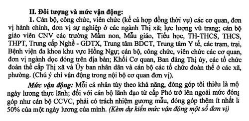 Văn bản vận động của thị xã Hồng Ngự