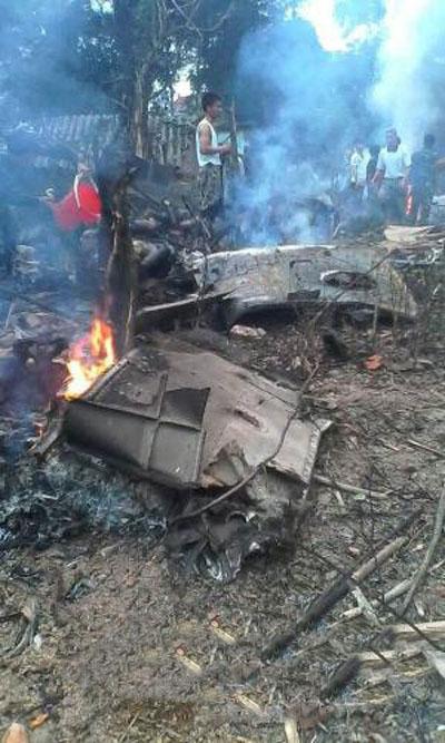 Hiện trường vụ tai nạn máy bay Mi-171 tại Hà Nội Ảnh: TTXVN