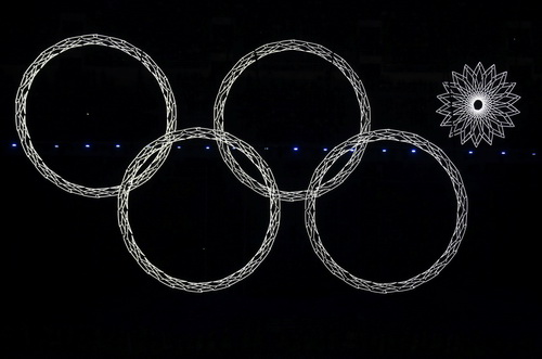 Biểu tượng 5 vòng tròn Olympic không hoàn chỉnh tại lễ khai mạc