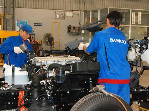 Công nhân SAMCO được làm việc trong điều kiện bảo đảm an toàn lao động.Ảnh: KHÁNH AN