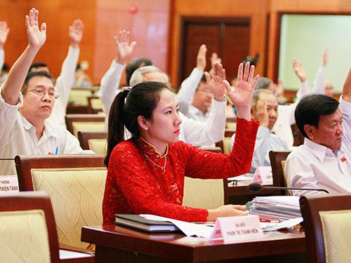 Các đại biểu biểu quyết thông qua nghị quyết Ảnh: Hoàng Triều