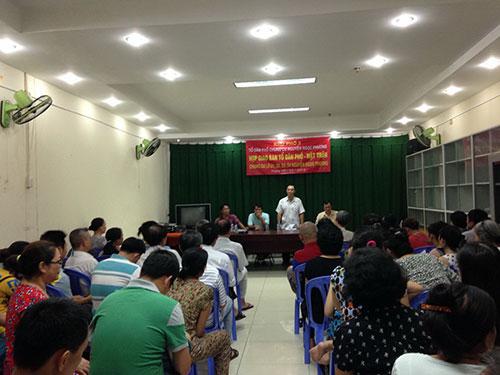 Ban Quản trị chung cư Nguyễn Ngọc Phương họp với cư dân ngày 10-5