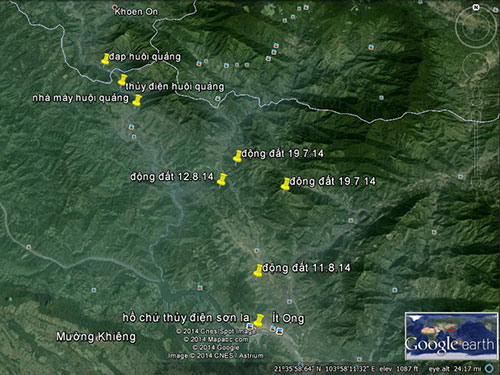 Bản đồ thể hiện động đất ở Sơn La