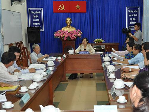 Chủ tịch HĐND TP HCM Nguyễn Thị Quyết Tâm trong một lần tiếp công dân