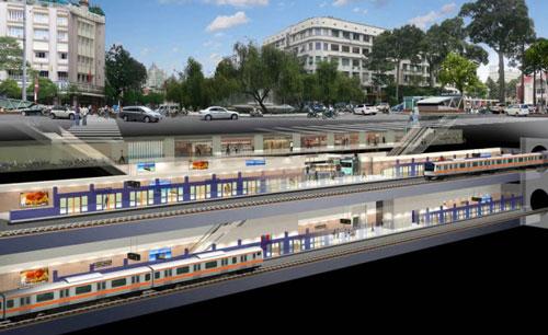 Phối cảnh tuyến metro số 1, đoạn phía trước khách sạn Rex. (Ảnh do Ban Quản lý dự án cung cấp)